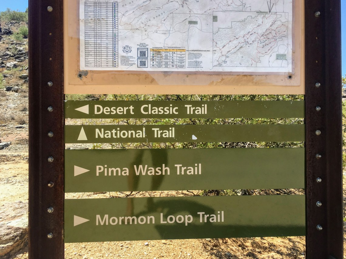 Hiking trailhead sign