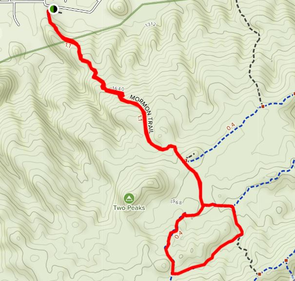 Map of Hidden Valley via Mormon Trail hike.