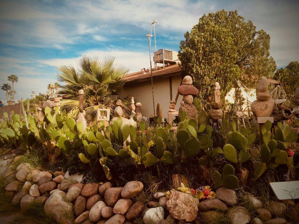 Impressive display of rocks stacked in yard of Phoenix home.