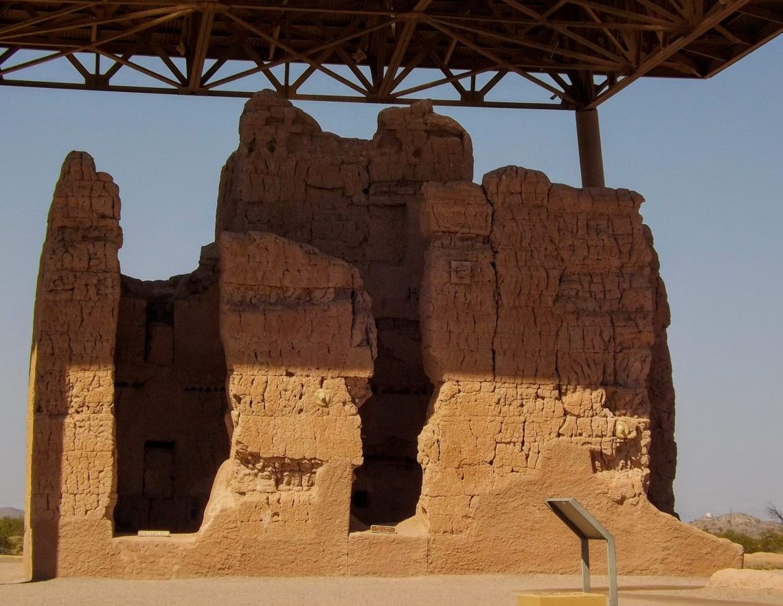 """Near view of """"great house"""" at Casa Grande National Monument"""
