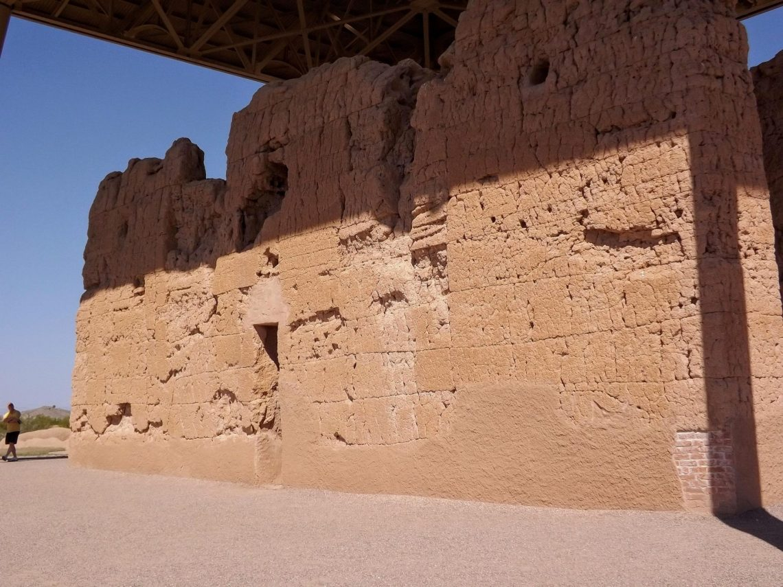 """Close up view of back side of """"great house"""" at Casa Grande National Monument"""