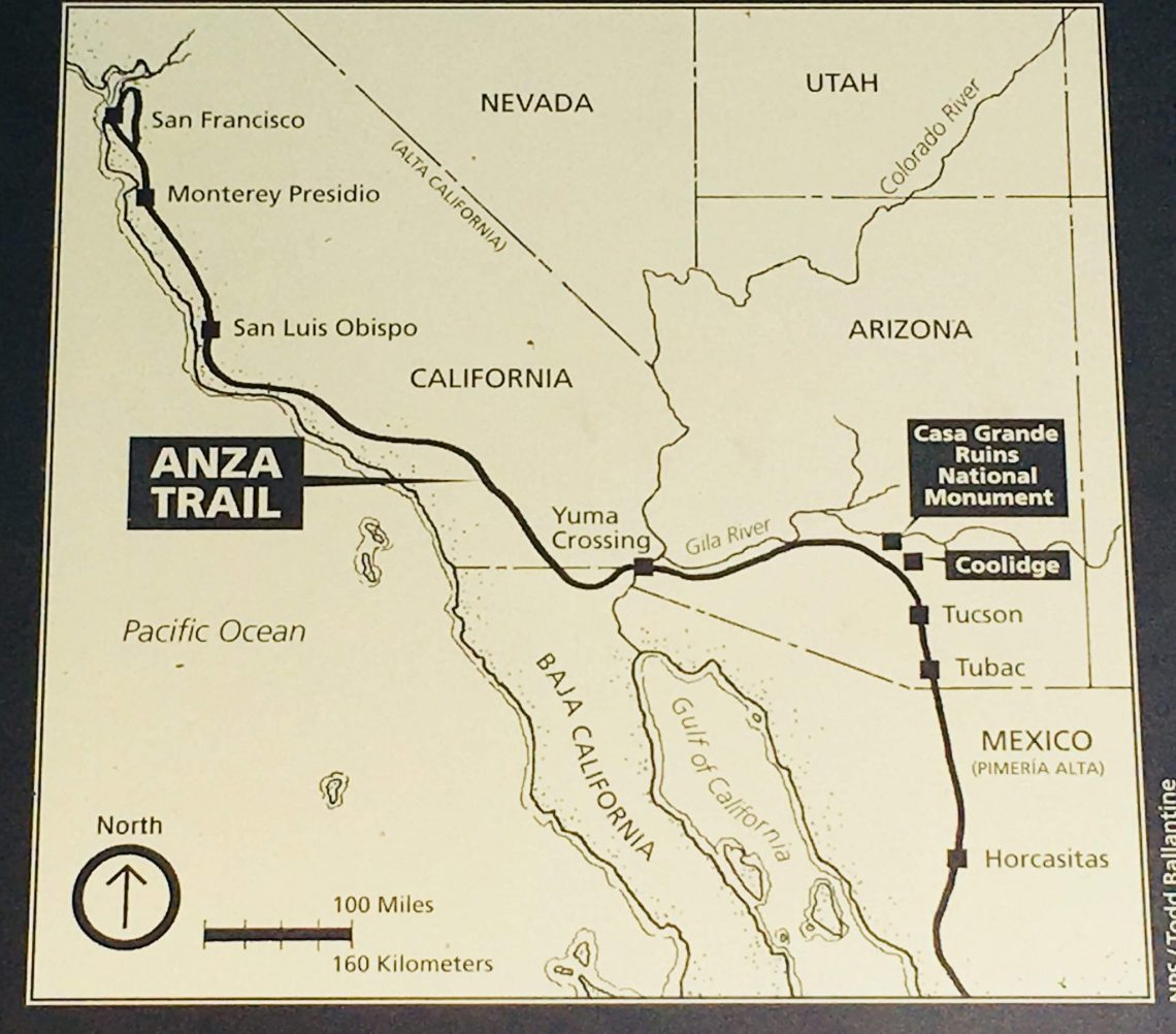 photo of map on a sign at Casa Grande Ruins National Monument