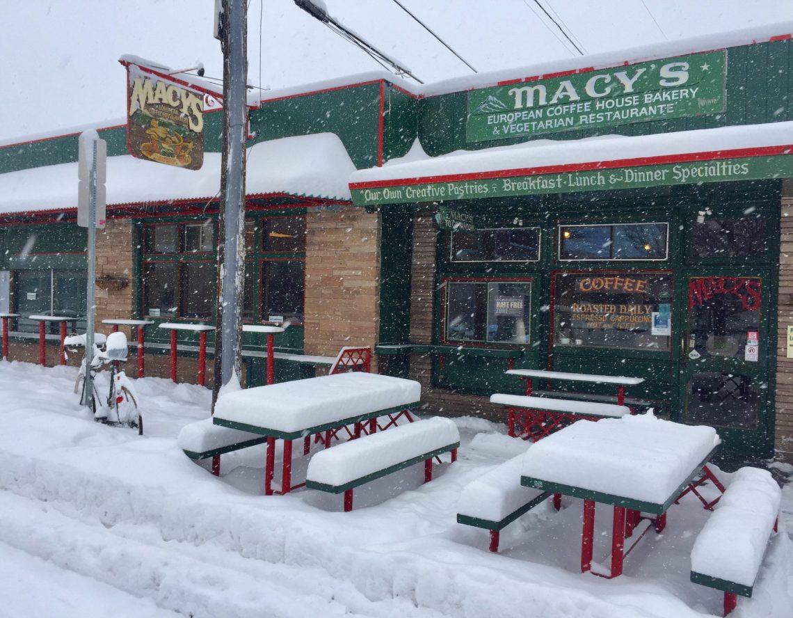 snowy scene at Macy's coffee shop in Flagstaff, AZ
