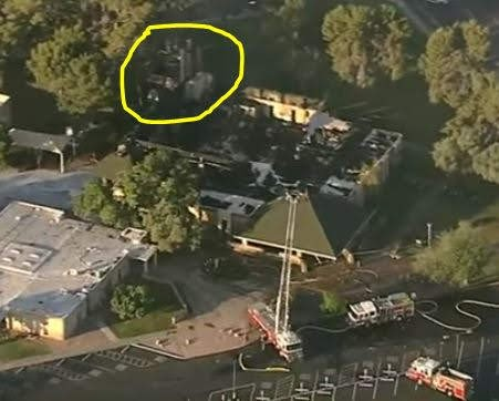 Aerial view of St. Joseph Church after being a total loss by fire