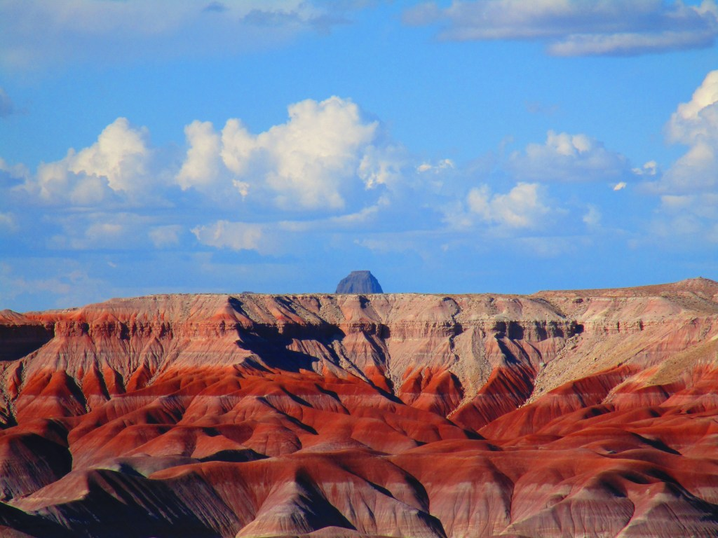 Panoramic view of colorful mounds of soil in Arizona's Painted Desert