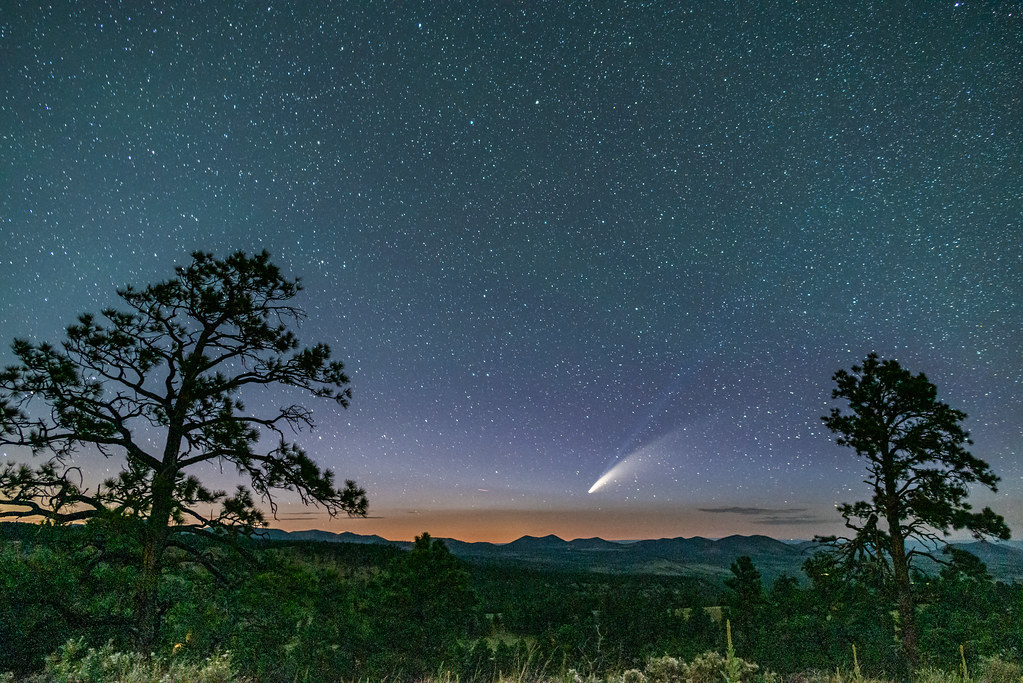 Comet Neowise graces the starry desert sky over Northern Arizona.