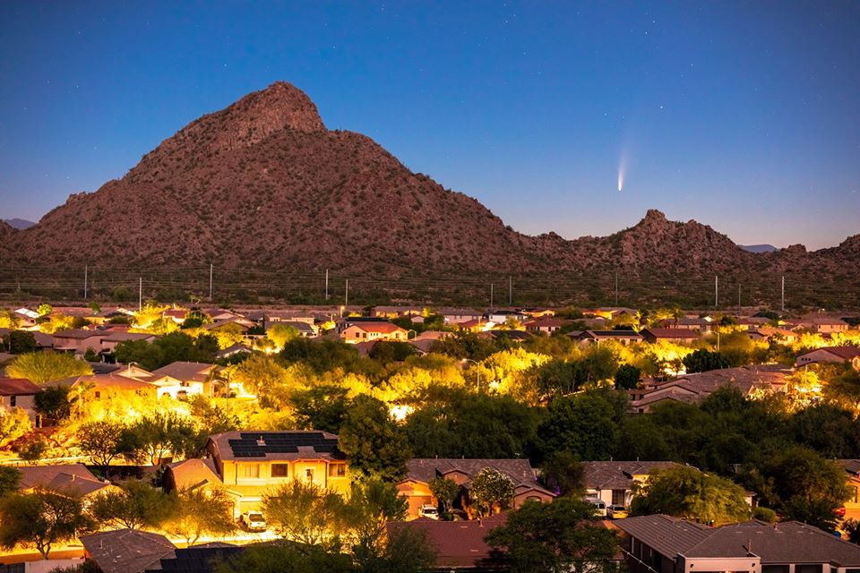 Comet Neowise viewed from a North Phoenix neighborhood. Photo credit: Chirag Patel