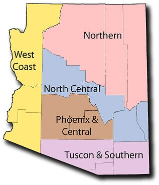 color shaded map of Arizona with five regions