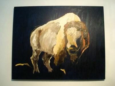 Un bison flotando en la abstracción de un fondo sin referencias