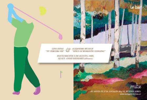 Flyer inauguración de muestra de Lino Divas y Alejandro Musich en Mite. Imagen.