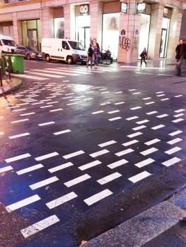 Nuevas líneas peatonales en prueba en París. Foto