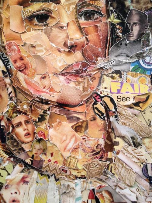 Detalle acotado del retrato en collage. Foto