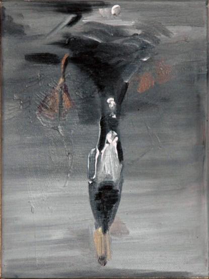 Ente-sw 13 / Öl auf Leinwand / 24 x 18 cm / 2004