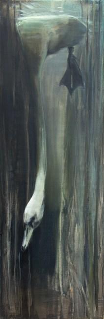 Leda fehlt zum Dritten / Acryl auf Leinwand / 120 x 40 cm /2013