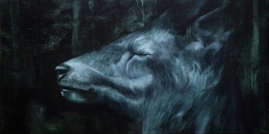 Schlafender Hirsch / Öl auf Leinwand / 50 x 100 cm / 2019