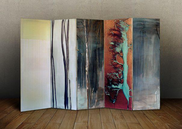 Paravant II / Acryl und Kupferfarbe auf Stoff / 180 x 300 cm / 2018