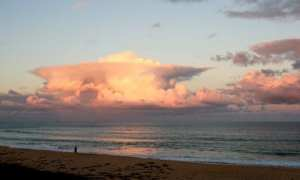Lone fisherman at Shelly Beach by Reginald J. Dunkley