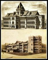 Old look of G.T Hospital (up) & St. George Hospital, CST. Photo edited by Aditya Chichkar