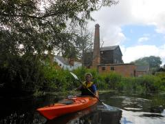 Paddling past the mill buildings at Hoxne