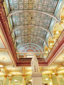 Victorian interiors of the BDL Museum. Statue of Prince Albert, consort of Queen Victoria, in the foreground.