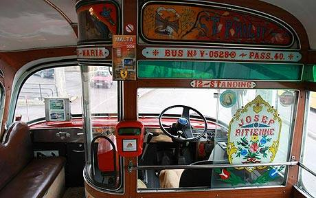 12 a driver's decorated cabin