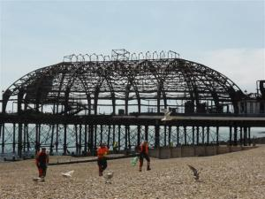 The charred remains of Eastbourne's pier