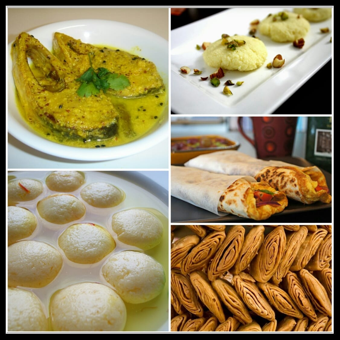 Eat-Bengali food delicacies of Ilish Macher Jhol (Top left), sweet dish Sandesh (Top Right), Egg roll (Middle Right), sweet dish Gaja (Bottom Left), Roshogulla (Bottom Left)