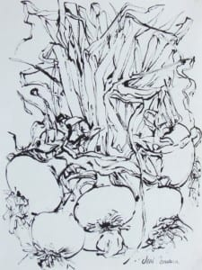 Onions, Indian ink
