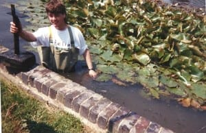 Trevor cleaning Hailsham Common Pond in the late 1980s