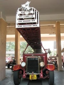 Antique fire engine used during the 1944 Victoria Dock rescue mission.