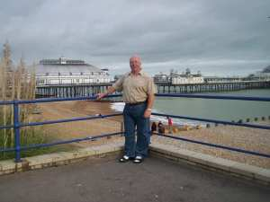 The author with Eastbourne pier in the background