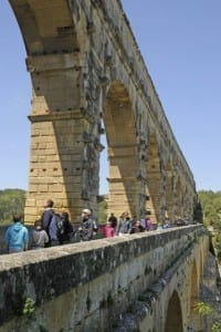walking on the Pont du Gard