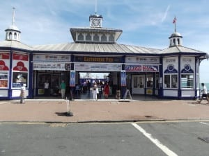 The pier entrance. There used to be two kiosks either side, removed in 1925, one demolished, the other now stands in a seafront park in a very sorry state of repair