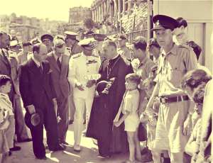 The King visiting Malta to inspect the horrendous war damage.