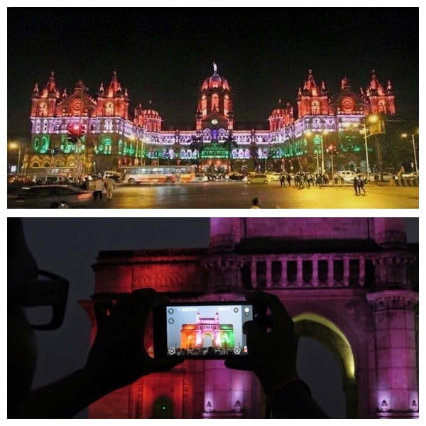 Top- Mumbai's Chatrapati Shivaji Railway Terminus illuminated with the tricolour flag theme on Independence Day of India (15th August). Bottom- Gateway of India monument at Colaba. Photo courtesy- Aditya Chichkar.