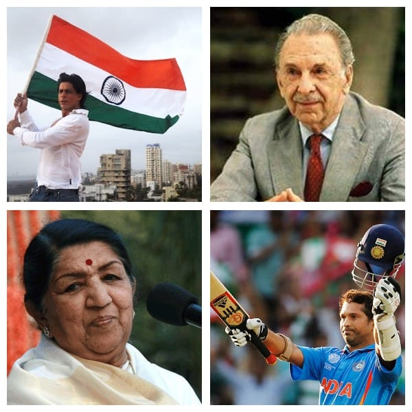 Few popular Indians nurtured in Mumbai. Clockwise- Shahrukh Khan (Bollywood filmstar), Late J.R. D Tata (Industrialist-Tata Group), Sachin Tendulkar (Master Blaster Indian Cricketer) and Lata Mangeshkar (World renowned Classical and Bollywood Singer)