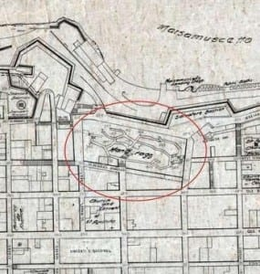 a site map of the area at Marsamxett earmarked to become an inner harbour.