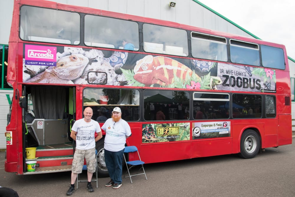 Zoo Bus and Dr Mike Leahy (L)