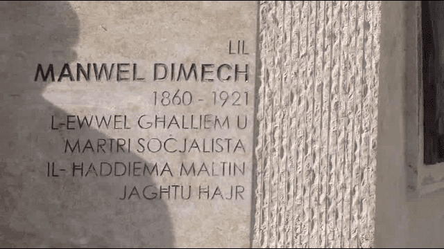 Tablet commemorating Manwel Dimech.