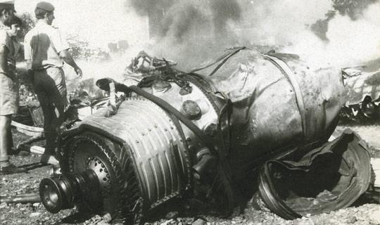 One of the shattered jet engines