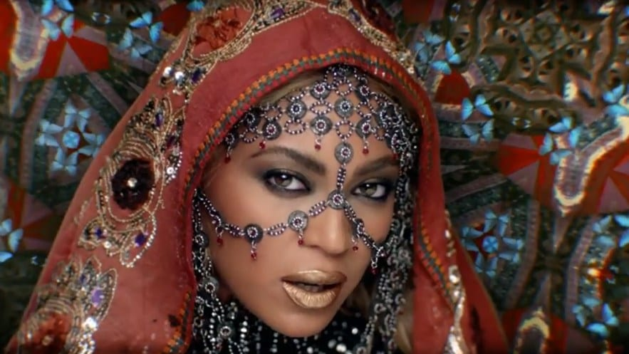 Beyonce in an exotic Indian look in the video