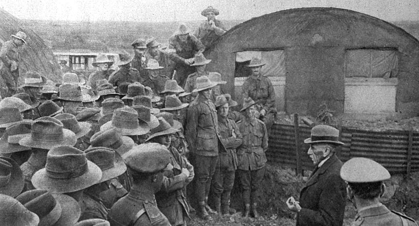 PM Hughes addressing Australian troops before they depart to Gallipoli.