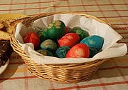 easter eggsdyed with leaves