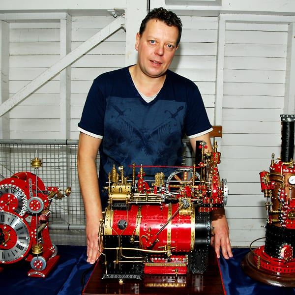 Dave Harvey with some of his intricate creations. Photo Rob Tysall