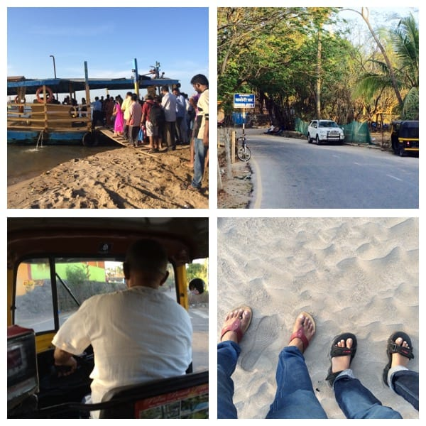 Top left- People boarding ferry at Marve beach (Malad), Top right- Manori jetty, Bottom left- Enjoying the autorikshaw ride through the Manori village Bottom right- Reached Manori beach