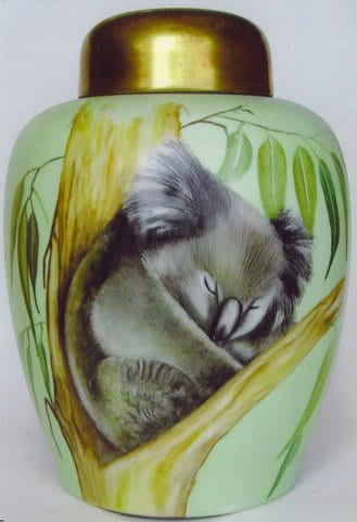 Kaiser Ginger Jar with sleeping Koala  - Handpainted by Patricia Newell Dunkley