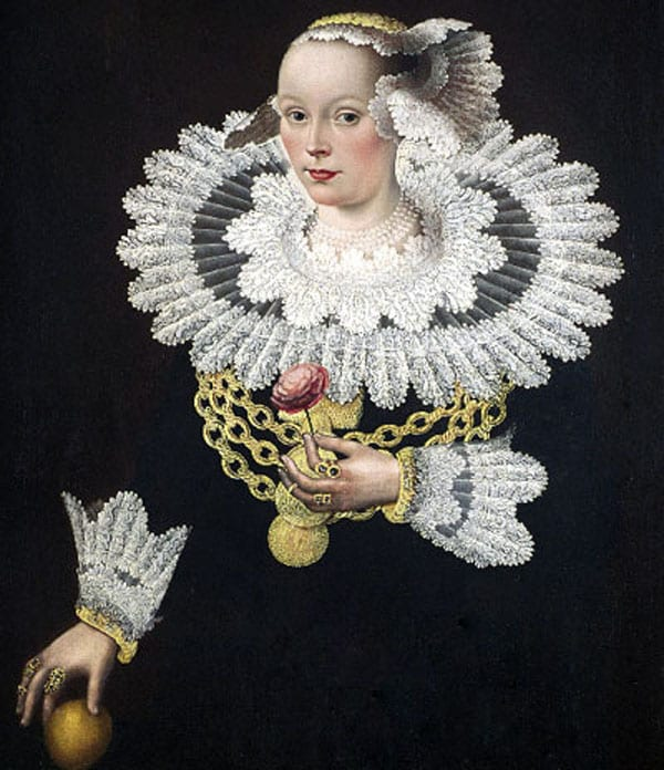 woman wearing a decorative ruff