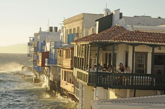 The iconic Mykonos seafront houses