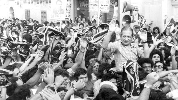 Borg Olivier carried shoulder high by supporters.