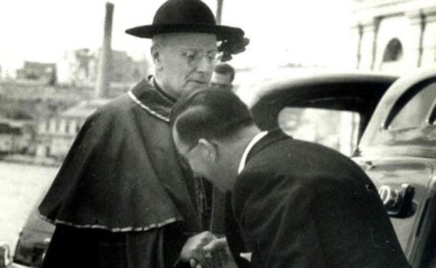 Malta's Archbishop at the time, Sir Michael Gonzi with Mintoff whom he interdicted together with his Malta Labour Party.